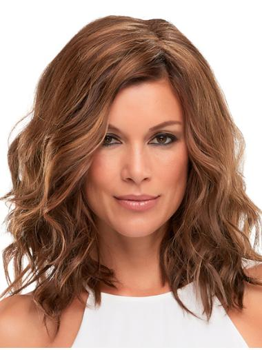 "Without Bangs Wavy Monofilament Auburn 13"" Cancer Wigs"