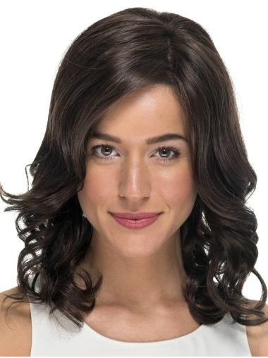 "Curly Without Bangs Black 14"" Monofilament Wigs For Cancer Patients"