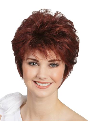 "Monofilament Wavy Red 8"" Classic Wigs For People With Cancer"