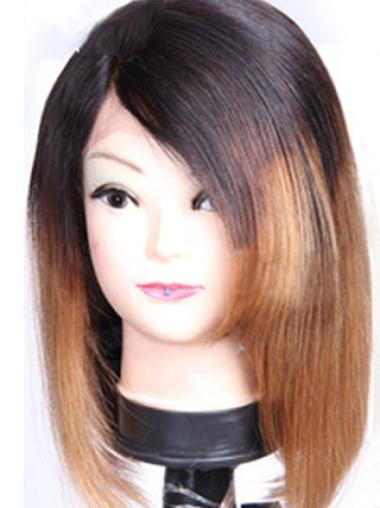 Beautiful Shoulder Length Straight Style Without Bangs Lace Front 100% Remy Hair Ombre Wigs