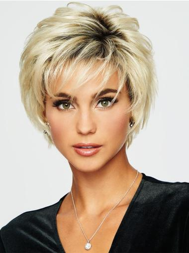 "5"" Cropped Wavy Blonde Boycuts Great Synthetic Wigs"
