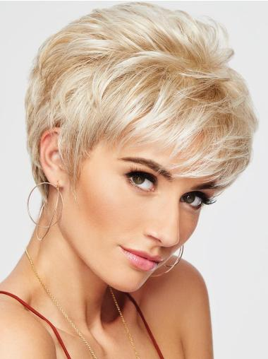 """4"""" Cropped Wavy Blonde Boycuts High Quality Synthetic Wigs For Sale"""