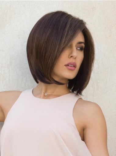 Brown Chin Length Straight Bob The Most Natural Looking Capless Wig