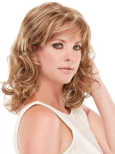 "Capless Curly 14"" Blonde Good Synthetic Wigs"
