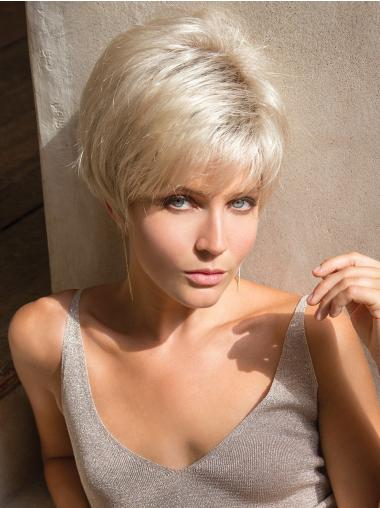 "Capless Straight 4"" Platinum Blonde Synthetic Short Wigs"