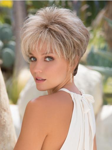 """Straight 3"""" Cropped Platinum Blonde Capless Synthtic Wigs"""