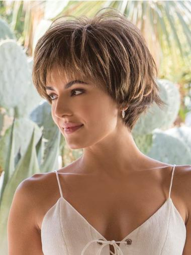 """Straight 4"""" Brown Capless Best Synthetic Short Wigs"""