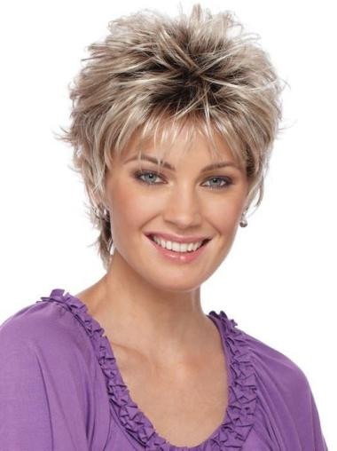 "Straight 3"" Cropped Blonde Capless Best Synthetic Wigs"