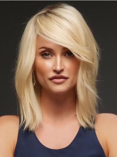 "Wavy Shoulder Length 14"" Monofilament Layered Human Hair Best Blonde Wigs"