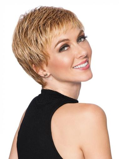 "Straight Cropped 3"" Capless Boycuts Best Synthetic Blonde Wigs"