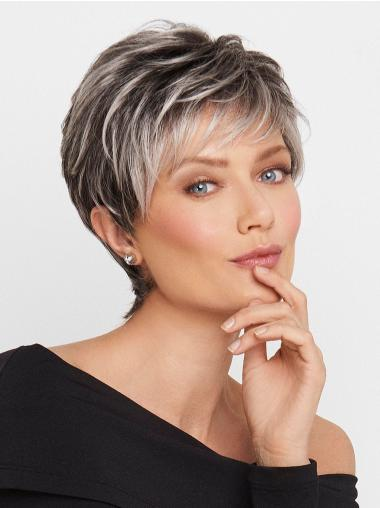 "Grey 5"" Wavy Monofilament Grey High Quality Synthetic Wigs"