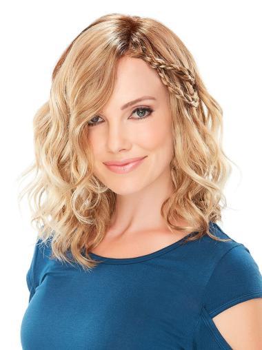 "Monofilament 13"" Wavy Classic Medium Length Blonde Synthetic Wigs"