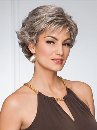 "Capless 5"" Grey Pixie Curly Synthetic Wig"