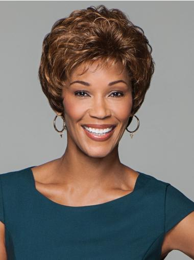 """6"""" Cropped Curly Brown Natural Synthetic Wig"""