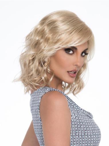Wavy Platinum Blonde Layered Mono Synthetic Monofilament Wigs