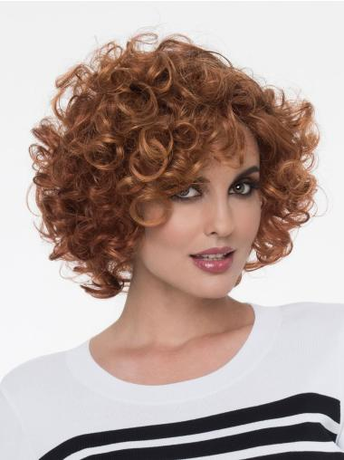 492f65e7f Wavy Auburn With Bangs Mono Natural Looking Synthetic Lace Wigs