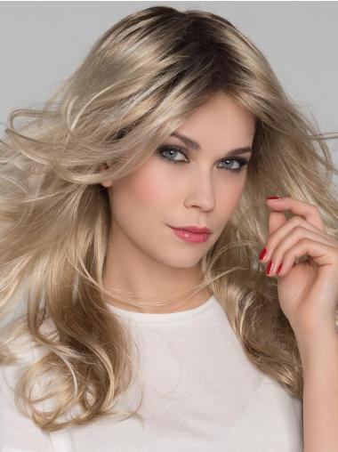 Wavy Platinum Blonde Layered Mono Heat Friendly Synthetic Wig