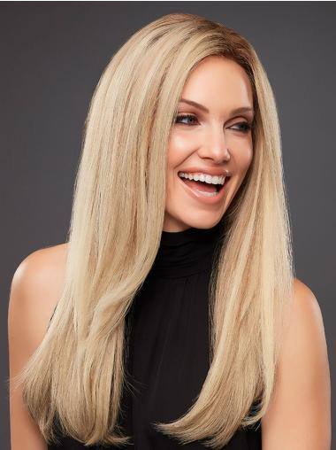 Straight Platinum Blonde Without Bangs Human Hair Hand Tied Wigs