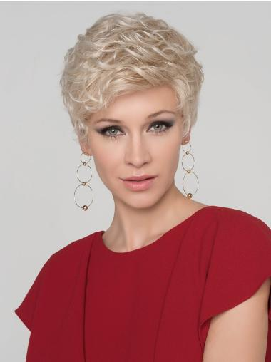 """4"""" Curly Platinum Blonde Boycuts Monofilament Synthetic Wig"""