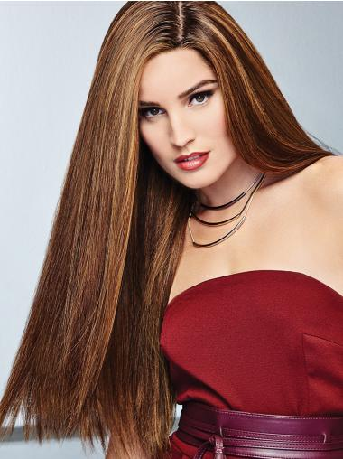 Straight 100% Hand-Tied Brown Without Bangs Hand Made Human Hair Wig