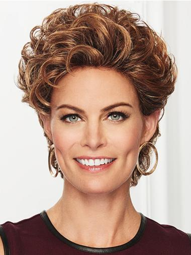 Copper Curly Cropped Without Bangs Lace Front Synthetic Wigs