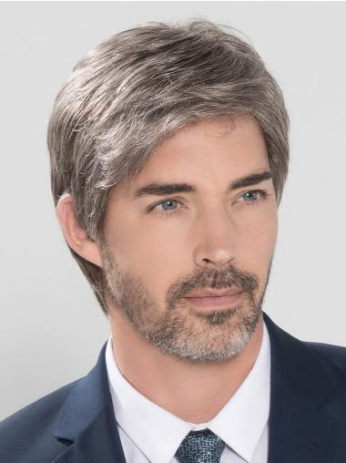 Straight Hand Tied Cropped Grey men Wig