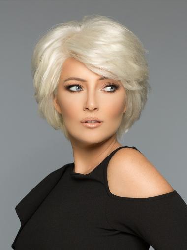 Wavy White Layered Human Hair Wigs