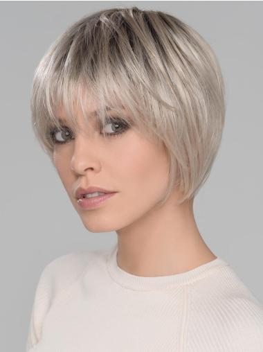 Straight Platinum Blonde Wigs With Bangs Synthetic
