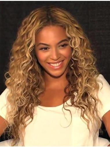 Beautiful Long Curly Blonde Without Bangs Beyonce Inspired
