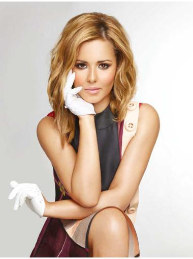 Popular Shoulder Length Wavy Blonde Without Bangs Cheryl Cole Inspired Wigs