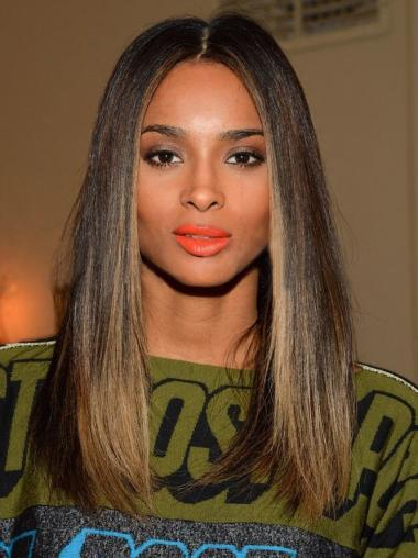 Straight Full Lace Wigs Shoulder Length Women Ombre Wigs
