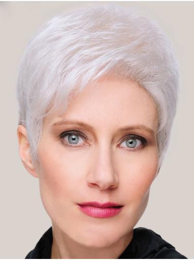 "8"" Short Straight Sleek Monofilament Grey Wigs"