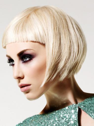 Young Fashion Platinum Blonde Short With Bangs Mono Human Wigs
