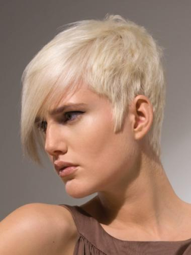 Young Fashion Platinum Blonde Short Layered Capless Synthetic Wigs