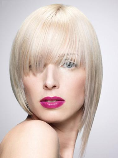 Young Fashion Platinum Blonde Favorite With Bangs White Mono Part Human Wigs