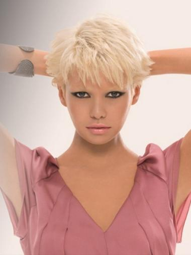 Young Fashion Platinum Blonde Short Restyled Capless Synthetic Wigs