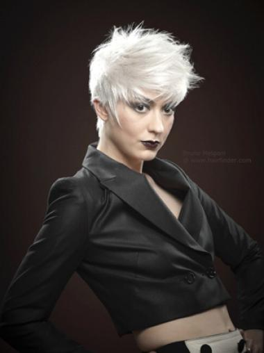 Young Fashion Powerful Short White Mono Capless Human Wigs