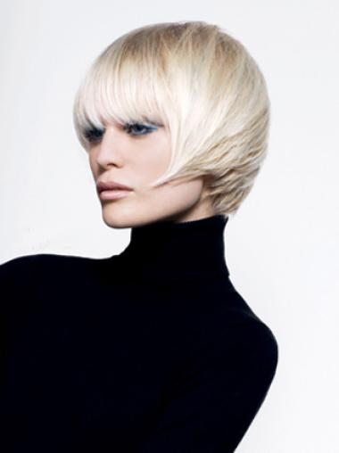 Young Fashion Platinum Blonde Short Bobs Straight Wigs
