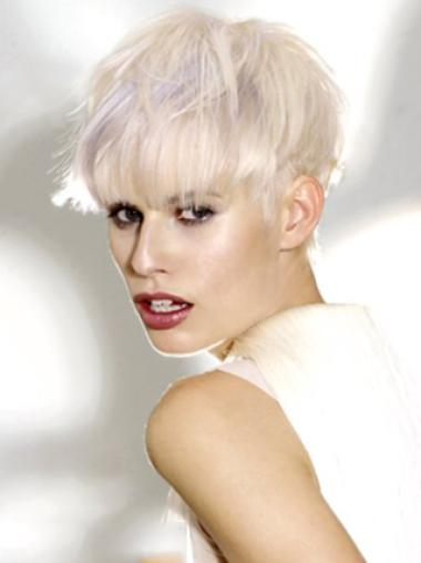 Young Fashion Platinum Blonde With Bangs Short Length Synthetic Wigs