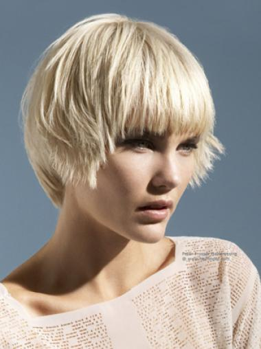 Young Fashion Platinum Blonde Short Hairstyle Classic Mono Synthetic Wigs