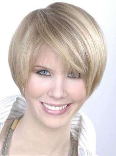 Young Fashion Platinum Blonde Ear Length Short Wigs For Women Young