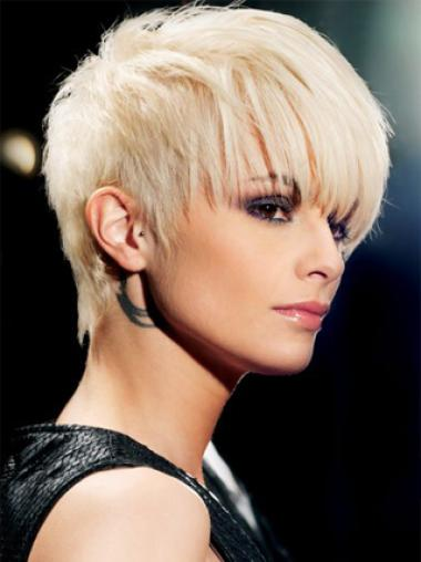 Young Fashion Choppy Platinum Blonde Capless Synthetic Wigs