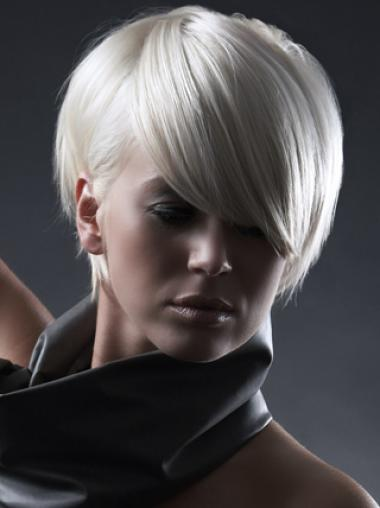 Young Fashion Sheer White Satin Short White Synthetic Wigs