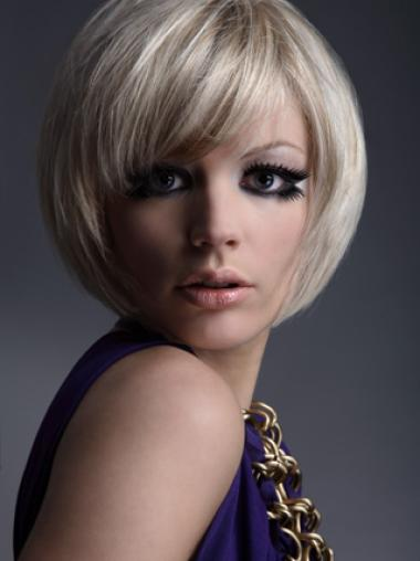 Young Fashion Chin Length Bobs Straight Style Platinum Blonde Wigs