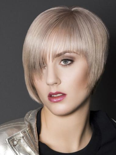 Young Fashion Platinum Blonde Layered Short Capless Synthetic Wigs