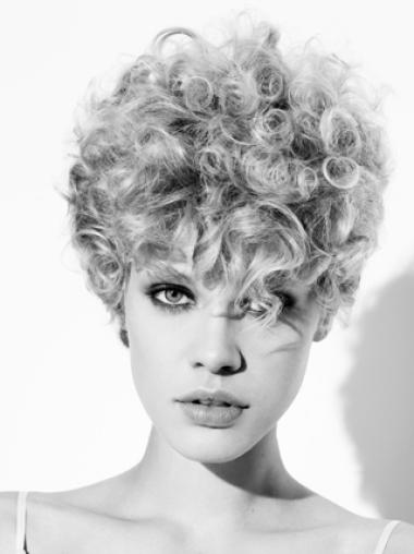 Young Fashion Grey Curly Short Capless Synthetic Wigs