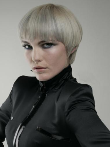 Young Fashion Grey With Bangs Short Straight Capless Wigs