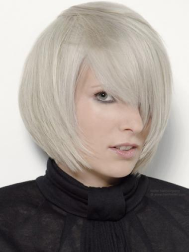 Young Fashion Platinum Blonde With Side Bangs Chin Length Capless Wigs