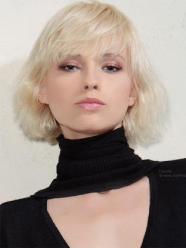 Young Fashion Platinum Blonde Soft Elegent Wavy Chin Length Capless Wigs
