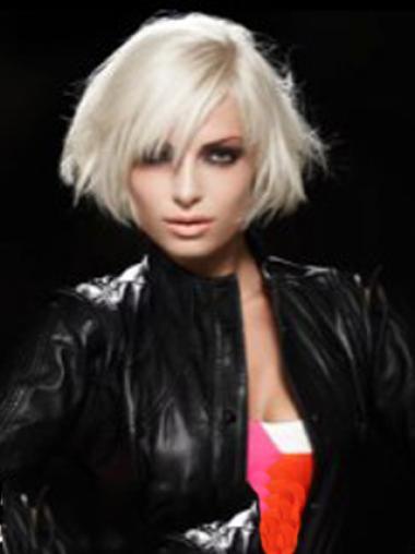 Young Fashion Beautiful Platinum Blonde Short Human Wigs